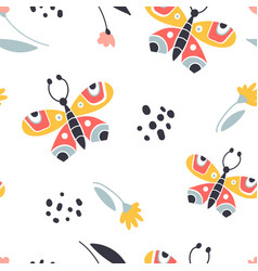 colorful folk seamless pattern vector image