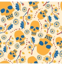 Colorful seamless pattern with flowers and skulls vector