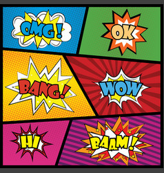 Comics speech bubble with expressions stickers set vector