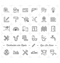 Construction icons repair house home renovation vector