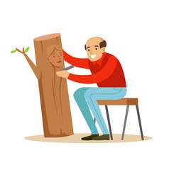 Craftsman is carving a portrait a woman over a vector