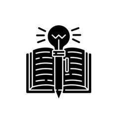 Creative writing black glyph icon vector