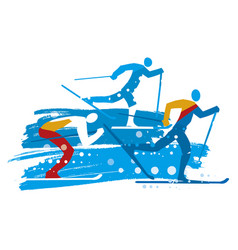 Cross country skiers grunge stylized vector