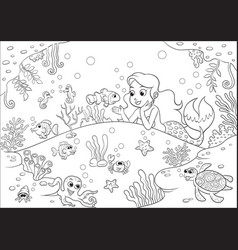 cute cartoon mermaid underwater world for vector image
