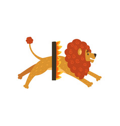 Cute circus lion cartoon character jumping through vector