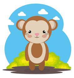 Cute monkey in the field landscape character vector