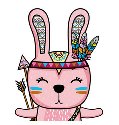 Cute rabbit animal with arrows and feathers vector