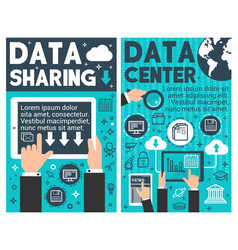 data center banner internet computer technology vector image