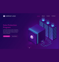 data protection program isometric concept vector image