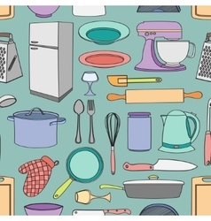 Doodle pattern kitchen vector image