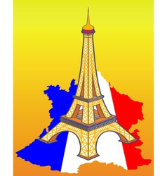 Eiffel Tower on the map of France vector image