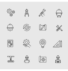 Engineering simple icons machine engineers vector