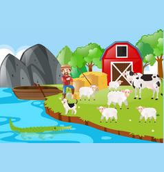 Farmer and animals in the farm vector