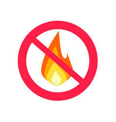 fire prohibition hazard risk sign and flame vector image