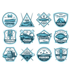 fishing camp tournament icons vector image