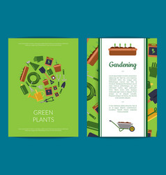 Flat gardening icons card or flyer template vector