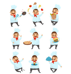 flat set with funny chef in different vector image