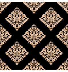 Floral beige damask seamless pattern vector