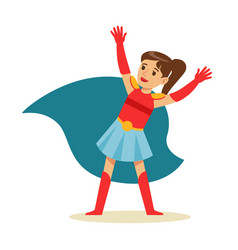 girl with ponytail pretending to have super powers vector image