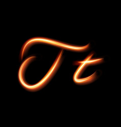 Glowing light letter t hand lighting painting vector