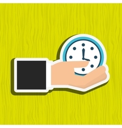 Hand with clock design vector