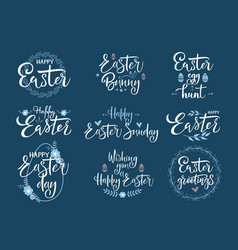 Happy easter white festive calligraphy set vector
