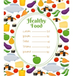 Healthy food menu template vector