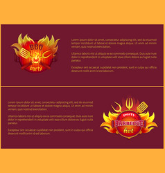 hot barbeque icons with burning badges vector image