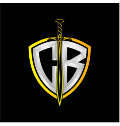 Initials c b is a shield decorated vector