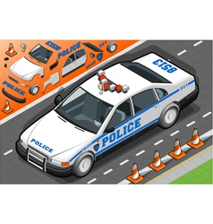 Isometric Police Car in Front View vector