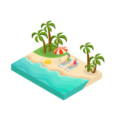 isometric retired people summer vacation concept vector image