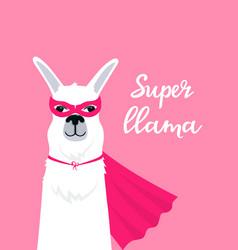 lama in super hero costume vertical banner with vector image