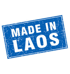 Laos blue square grunge made in stamp vector
