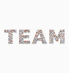 Large group people in form team word vector