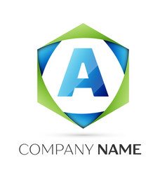 Letter a symbol in the colorful hexagonal vector