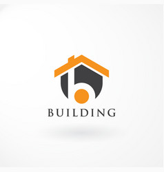 logo combination house and letter b vector image