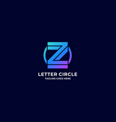 logo letter z with circle gradient colorful vector image