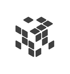 Logo of the rubik cube with empty cells vector