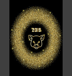 Luxury golden glitter oval frame with 2019 and pig vector