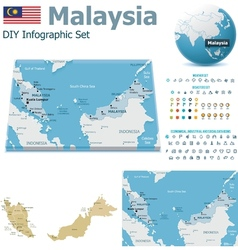 Malaysia maps with markers vector image