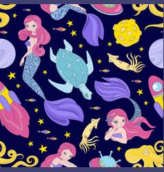 Mermaid cloth space sea princess seamless pattern vector
