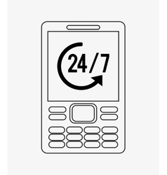 Modern cellphone with 24 7 service icon image vector