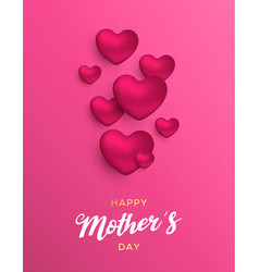mothers day card of pink hearts for mom love vector image