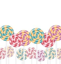 Multicolored lollipops on white vector