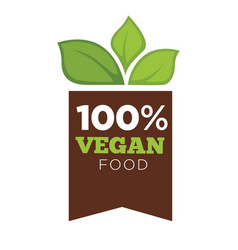 natural vegan organic promo emblem with ribbon and vector image