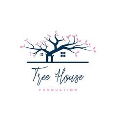 negative space house in oak tree logo design vector image