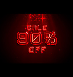 neon frame 90 off text banner night sign board vector image