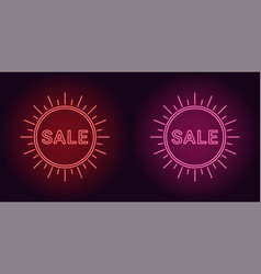 Neon icon of red and pink sale badge vector