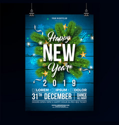 new year 2019 party celebration poster template vector image