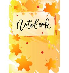 Notebook in black on orange yellow background vector